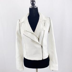 Piperlime collection white tweed moto jacket